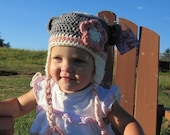 Cutest Baby Girl Sock Monkey Hat Cream Gray and Pink