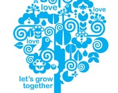 Love Art Print - Let's Grow Together in Blue - Sweet Nursery or Child's Room Print