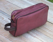 Large Gusseted Leather Zipper Pouch in MedBrown/Mahogany with Dark Brown Welt
