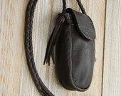 Two Large Deep half-size Side Pouches, with Braided Strap, one in Dark Brown/Chocolate, and the other in Red