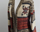 70s Knit Acrylic Open Cardigan Sweater s m l