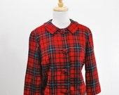1960s Pendleton Wool Red Plaid Swing Jacket xs s m