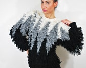 Avant Garde black gray and white shaggy oversize sweater s m l