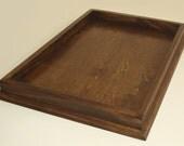 25x17 Dark Walnut Stained Ottoman Tray