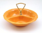 Mid Century Snack Dish by Lane and Co Partitioned with Handle Orange Gold Modern