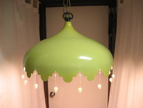 Shipping Included - Vintage Hanging lamp with dangling beads