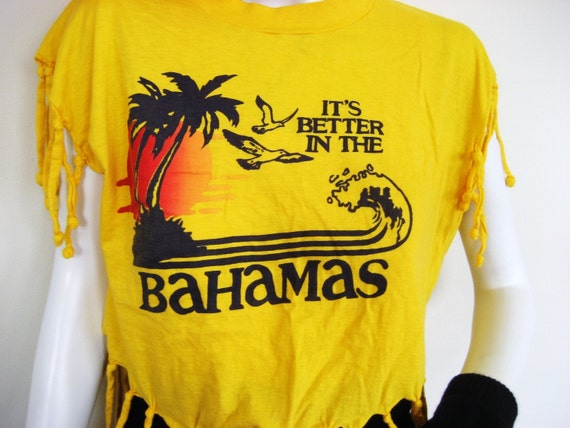 Better in the Bahamas Vintage T-Shirt - Knotted Fringe Yellow Palm Trees Birds