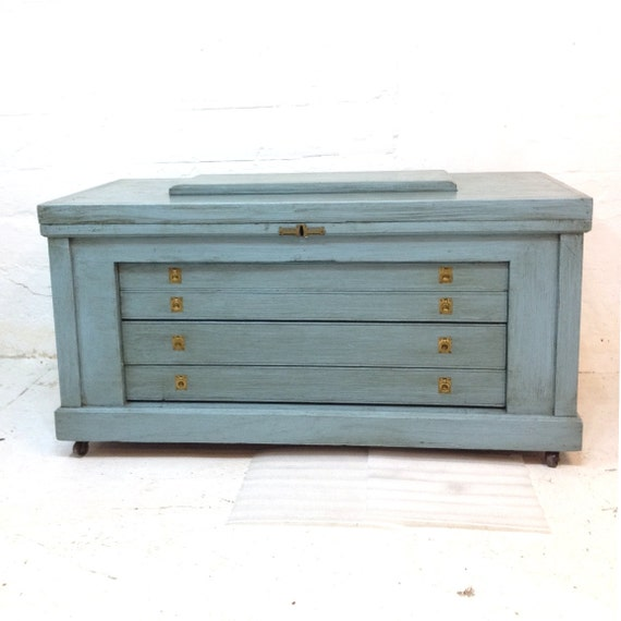 Handmade Tool Chest Vintage Early 20th Century Light Blue and Grey Gray Trunk