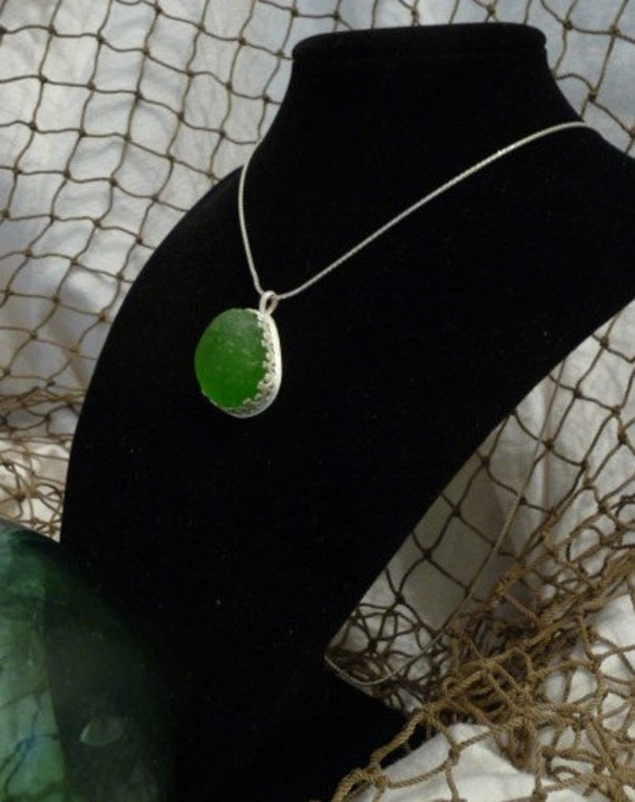 Authentic Large Bright Kelly Green Sea Glass Pendant