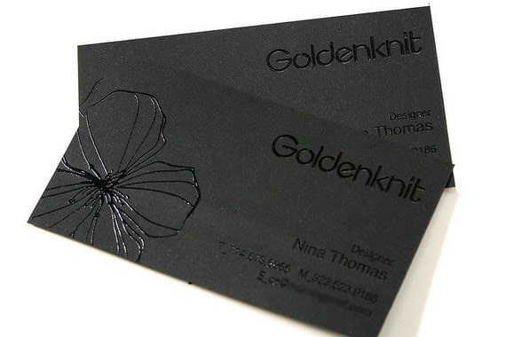 200 Business Cards black raised ink 14PT black by
