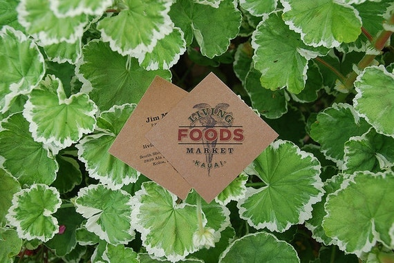 """250 square tags or business cards - 2""""x2"""" - full color - 20 PT THICK Kraft board/paper - environmentally friendly"""