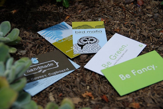 """250 Business Cards or tags 3.5""""X2"""" - custom printed 16 PT double thick matte stock - single Sided - environmentally friendly - 100% recycled"""