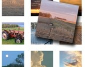 DIGITAL COLLAGE of rural scenes -- sunsets, clouds, farm life -- No. 128 -- 1x1 inchies -- downloadable PDF