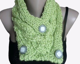 Knit Light Green Cowl Scarf Neckwarmer, Winter Accessories, Fall Fashion
