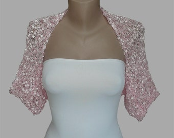 Pink Wedding Shrug-Pink Wedding Bolero-Pink Bridal Shrug-Pink Bridal Bolero-Pale Pink Bolero-Pale Pink Shrug-Bridesmaid Bolero