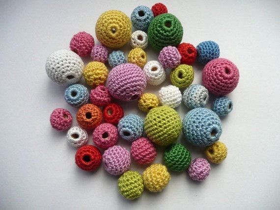 Mix from  Multicolor Organic Handmade Crochet Beads in white, hot pink, yellow, blue, red, cyclamen, green 40 Pcs - promotional price