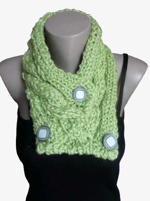 Knit Light Green Cowl Scarf Neckwarmer, Winter Accessories, Fall Fashion