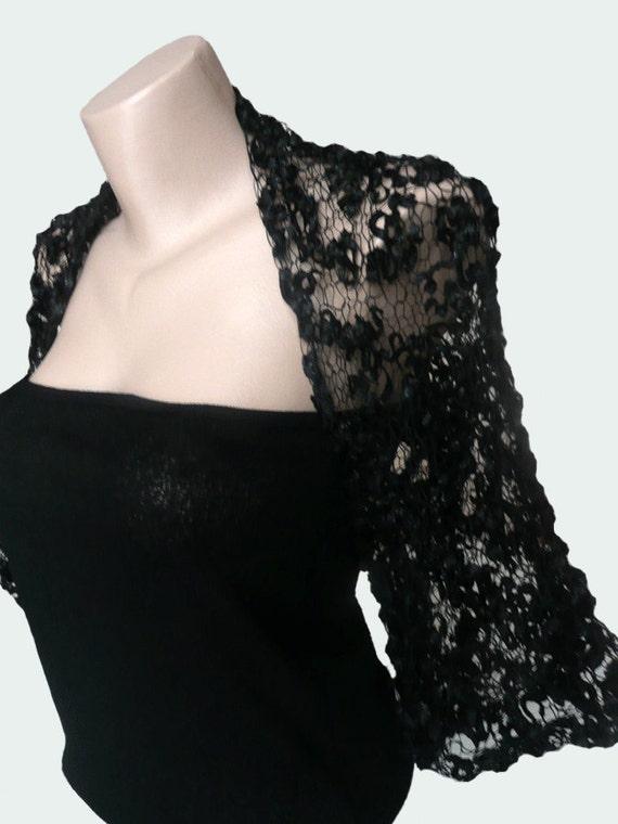 Knit  Black Bolero Shrug Wrap Sleeves, Weddings Bridesmaid Women, Holiday Accessories, Evening dress