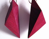 dark fuchsia wedge dangling earrings