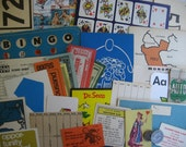 Vintage Flash Cards and Game Pieces Grunge Pack (150 pieces)