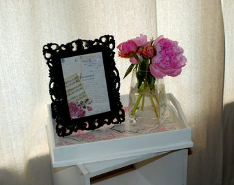 Ivory & Pink Damask Wooden Serving Tray, Breakfast tray, Makeup Tray