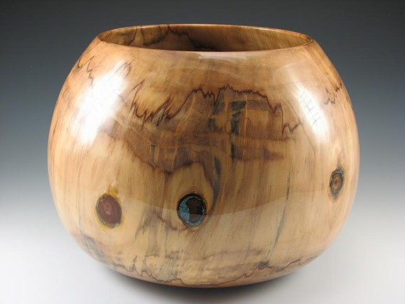 Norfolk Island Pine Bowl with Turquois Inlay