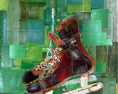 Vintage Green Leather Hockey Ice Skates