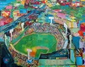 Day Game Boston Fenway Baseball Collage Poster