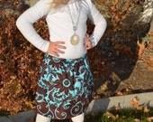 READY TO SHIP  Fall Girls Skirt Brown and Blue  Baby Skirt  Toddler Skirt