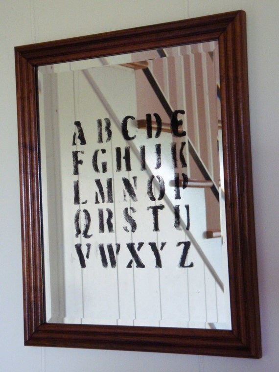 Silver Alphabet Mirror with Vintage Frame