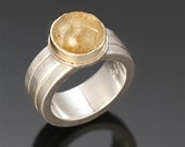 "Sterling Silver & 18k Gold, Rutilated Quartz Ring ""Shooting Stars Ring"""