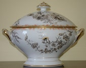 French antique porcelain soup tureen with lid