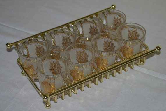 Set of eight vintage shot cocktail glasses in gold and white with tray