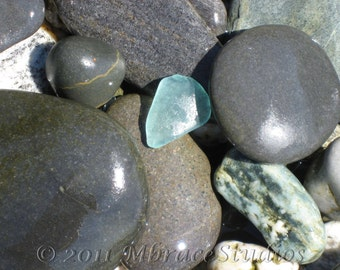 Smooth beach Rocks with Seaglass photograph - 8x10 Matted Nature Photo-Turquoise, blue,gray- relaxing beach closeup-gift for her under 50