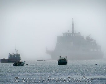 Emerging from the Fog 3 - Ferry Boat 8x10 Matted Fine Art Travel Photograph (No 3 in series)