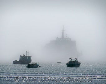 Emerging from the Fog 2 - Ferry Boat 8x10 Fine Art Photograph in an Acid Free 11 x 14 Mat (#2 in a series)