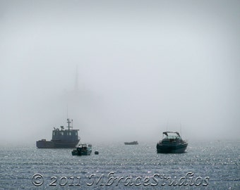 Emerging from the Fog 1 - Ferry Boat 8x10 coastal ocean boat Photo - matted to 11x14 size (No 1 in a series)