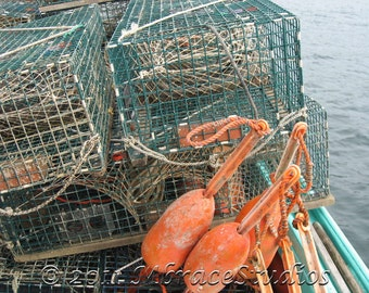 Coastal, marine photograph- Lobster Traps & Buoys  on a lobster boat - Fine Art Photo. 5 x 7 matted