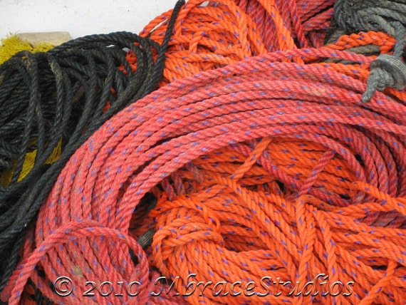 Ropes Photo - Red, Orange & Black  - on a Lobster Boat - Fine Art Photograph to hang in your coastal home