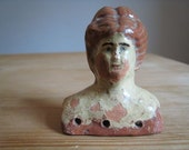 Antique primitive dolls head . old vintage terracotta collectable
