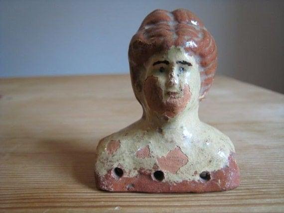 Antique primitive dolls head . old vintage terracotta collectable