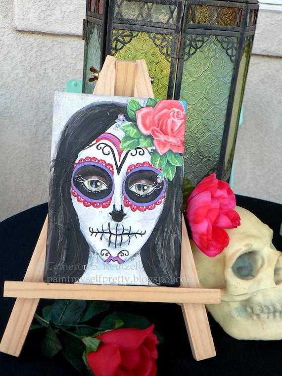Day of the Dead Sugar Skull Girl ORIGINAL MIXED MEDIA Painting