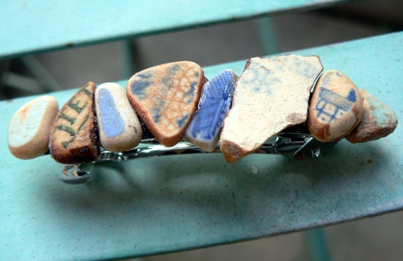 Vintage Ocean Pottery Barrette in Blues and Cream