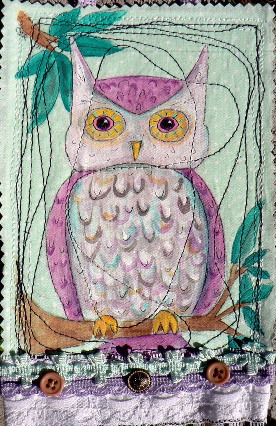 ON SALE Pink and Purple Owl Painted Woodland Wall Hanging