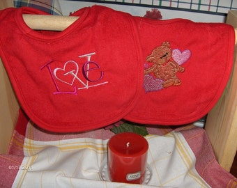 VALENTINE BIBS for baby- bear with hearts and LOVE