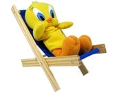 Toy Wooden Folding Lounge Chair, royal blue fabric