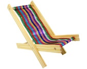 Toy Wooden Folding Lawn Chair, multicolor sparkling striped fabric for stuffed animals, action figures, dolls