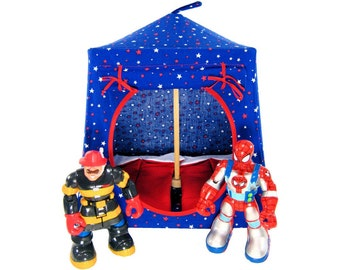Toy Pop Up Tent, Sleeping Bags, royal blue, star print fabric for dolls, action figures or stuffed animals