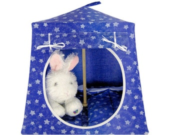 Toy Pop Up Tent, Sleeping Bags, purple, sparkling star print fabric for stuffed animals, dolls