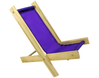 Toy Wooden Folding Doll Chair, purple fabric for dolls, stuffed animals, action figures